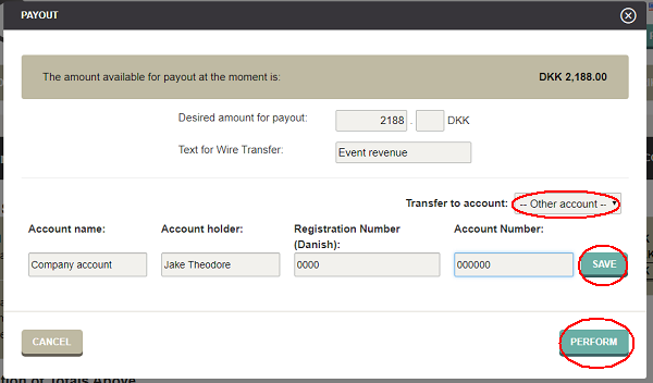 Transfer event revenue to your own bank account